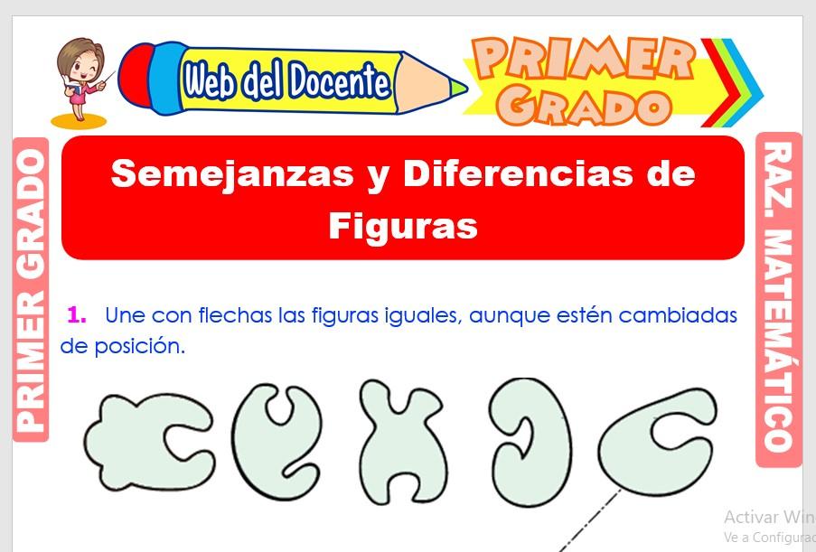Ficha de Semejanzas y Diferencias de Figuras para Primer Grado de Primaria