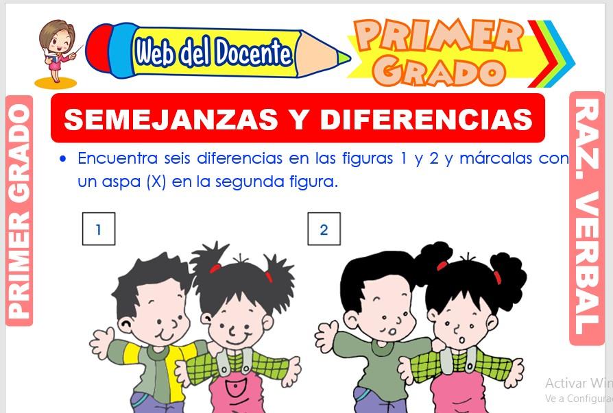 Ficha de Semejanzas y Diferencias para Primer Grado de Primaria