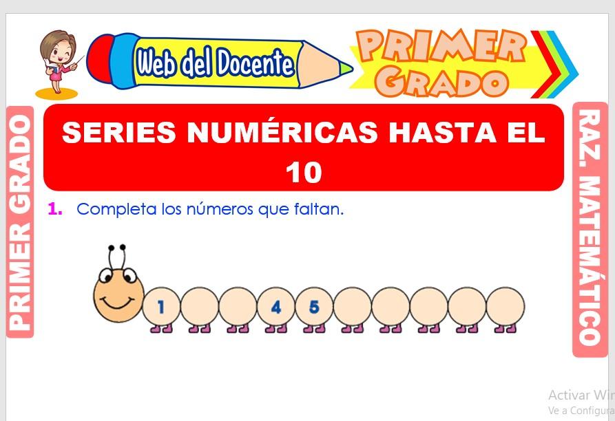 Ficha de Series Numéricas hasta el 10 para Primer Grado de Primaria