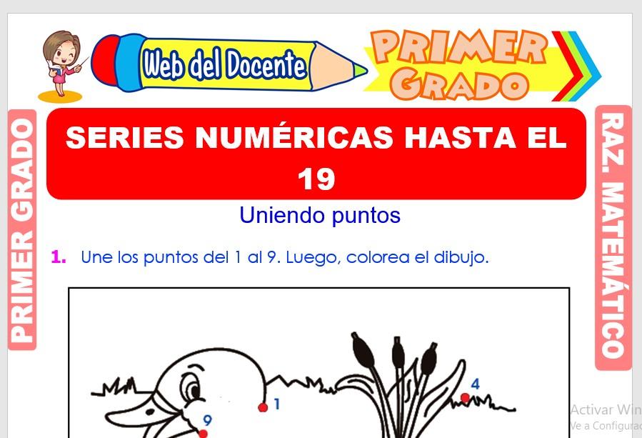 Ficha de Series Numéricas hasta el 19 para Primer Grado de Primaria