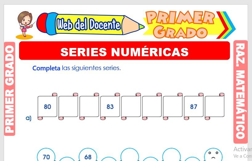 Ficha de Series Numéricas para Primer Grado de Primaria