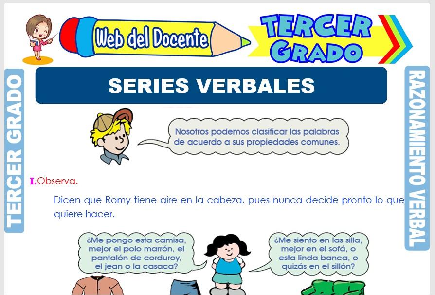 Ficha de Series Verbales para Tercer Grado de Primaria
