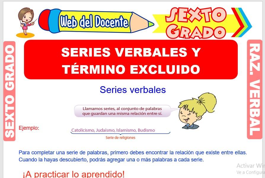Ficha de Series Verbales y Término Excluido para Sexto Grado de Primaria