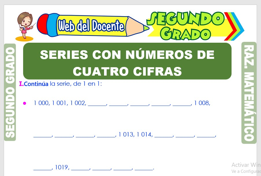 Ficha de Series con Números de Cuatro Cifras para Segundo Grado de Primaria