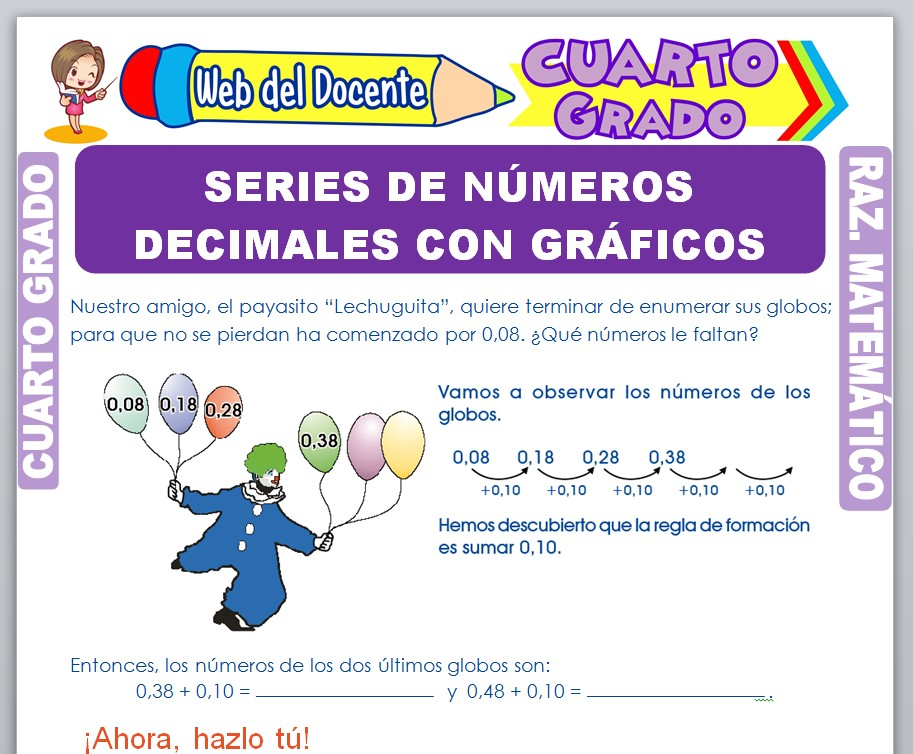 Ficha de Series de Números Decimales con Gráficos para Cuarto Grado de Primaria