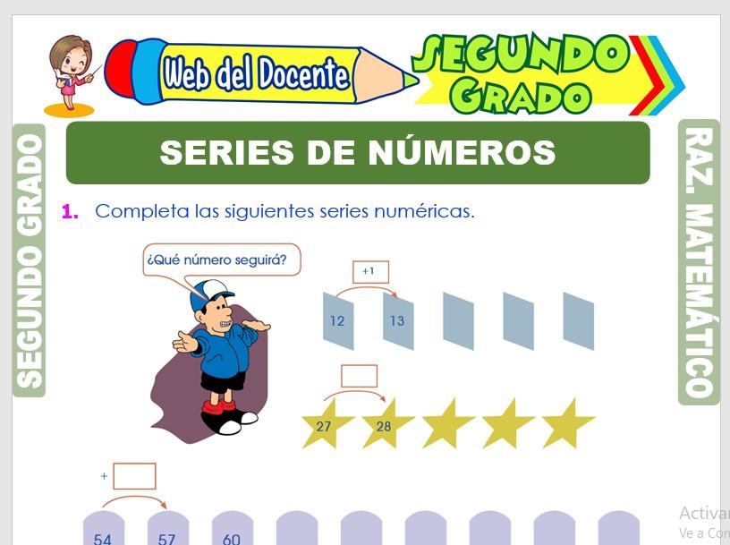 Ficha de Series de Números para Segundo Grado de Primaria