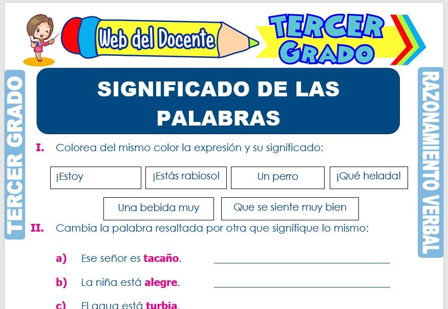 Ficha de Significado de las Palabras para Tercer Grado de Primaria
