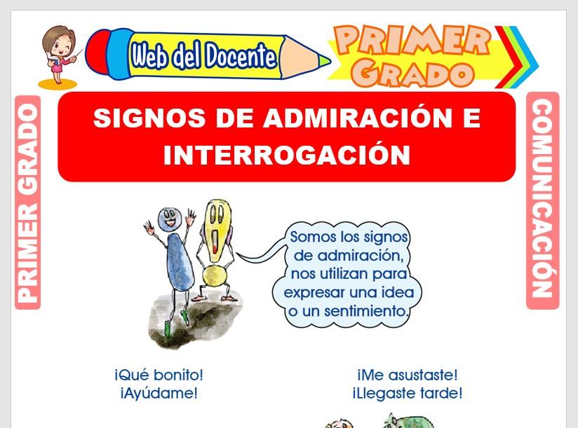 Ficha de Signos de Admiración e Interrogación para Primero de Primaria