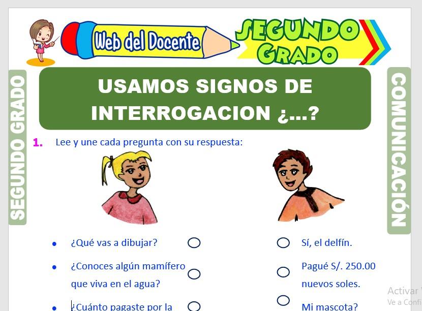 Ficha de Signos de Interrogación y Exclamación para Segundo Grado de Primaria