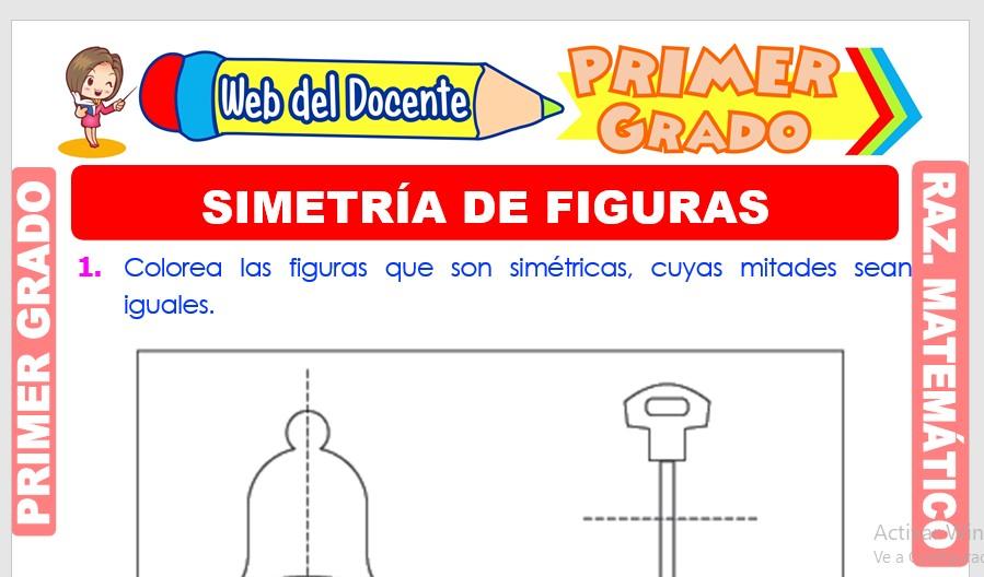 Ficha de Simetría de Figuras para Primer Grado de Primaria