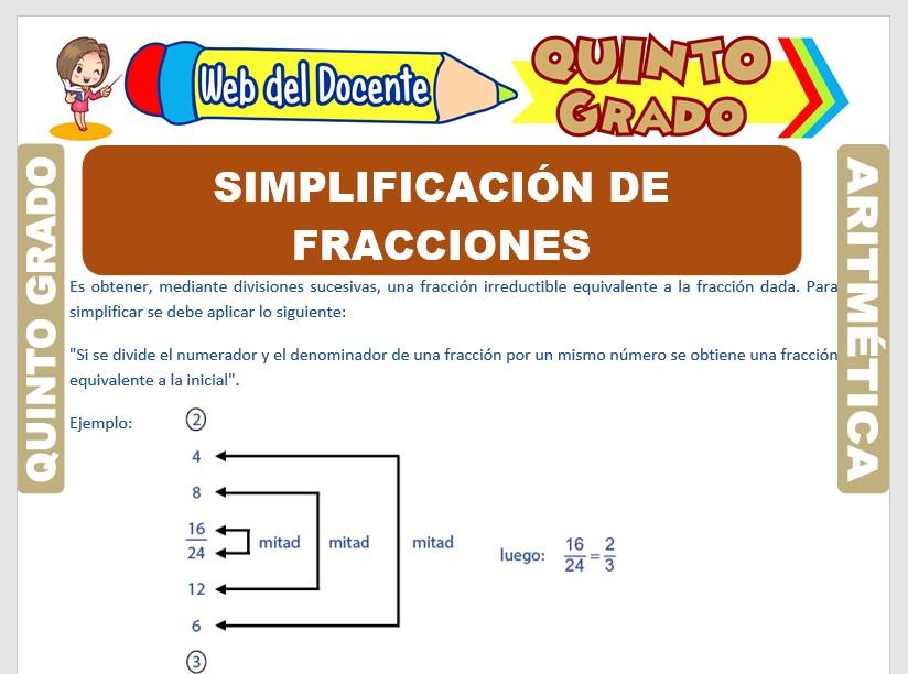 Ficha de Simplificación de Fracciones para Quinto Grado de Primaria