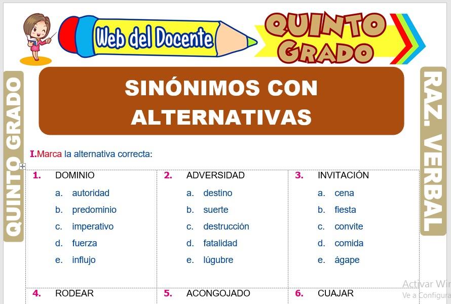 Ficha de Sinónimos con alternativas para Quinto Grado de Primaria