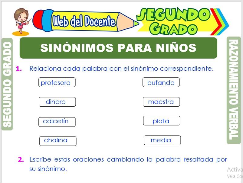 Ficha de Sinónimos para Niños para Segundo Grado de Primaria