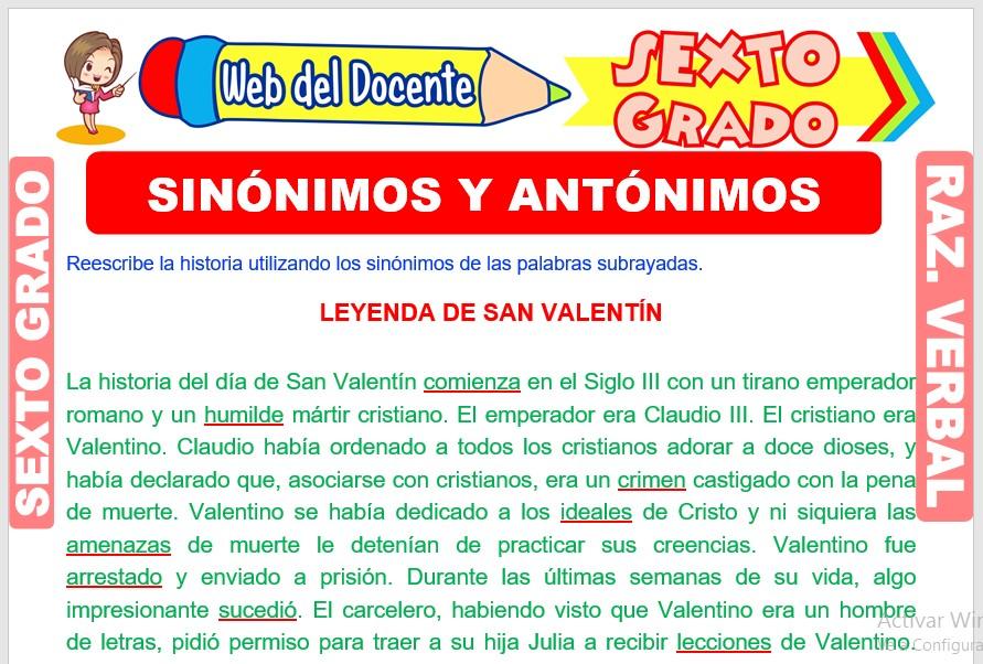 Ficha de Sinónimos y Antónimos para Sexto Grado de Primaria