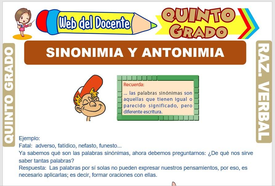 Ficha de Sinonimia y Antonimia para Quinto Grado de Primaria