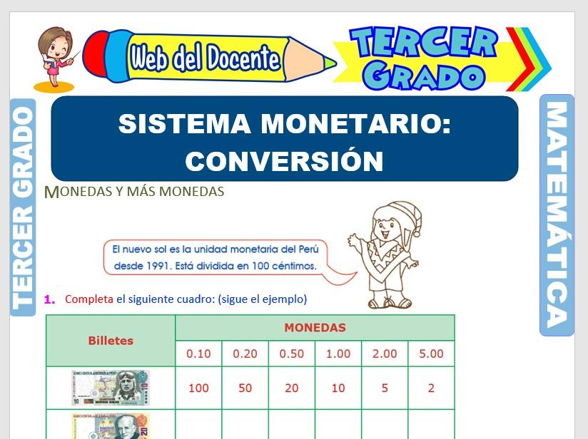 Sistema Monetario del Perú para Tercer Grado de Primaria
