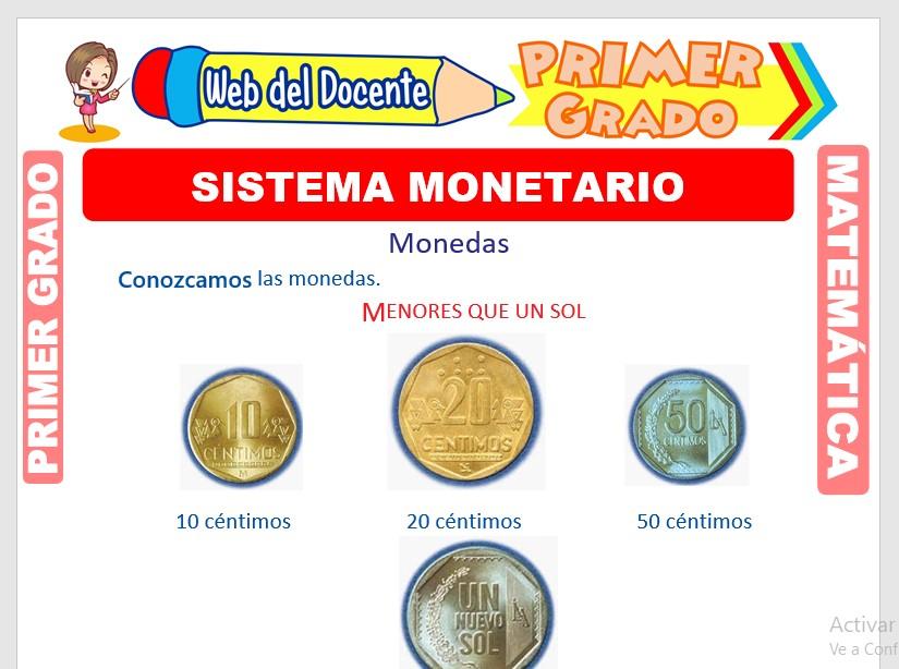 Ficha de Sistema Monetario para Primer Grado de Primaria