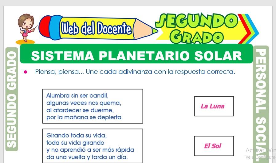Ficha de Sistema Planetario Solar para Segundo Grado de Primaria
