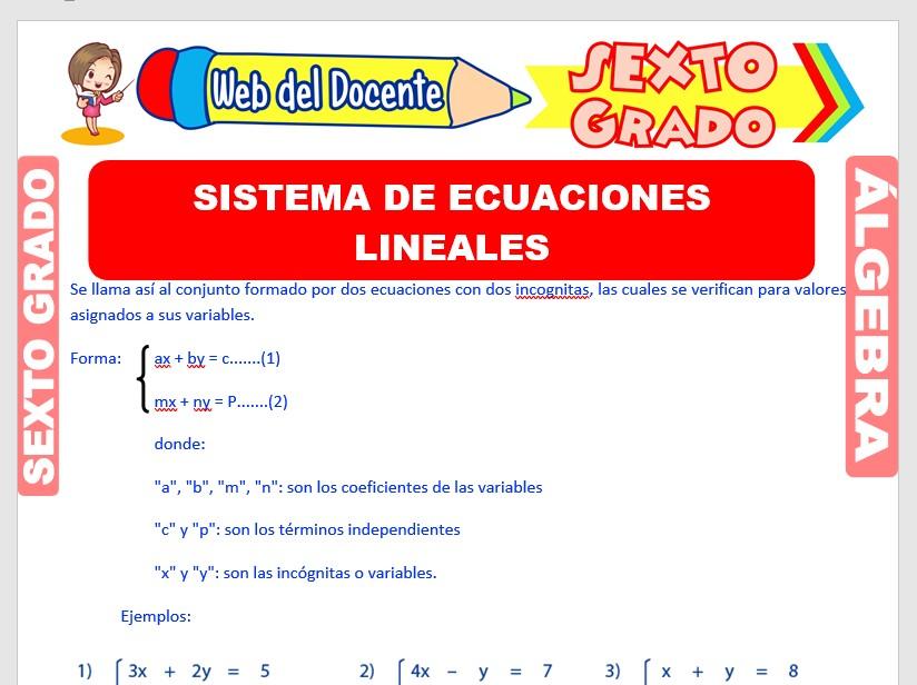Ficha de Sistema de Ecuaciones Lineales para Sexto Grado de Primaria