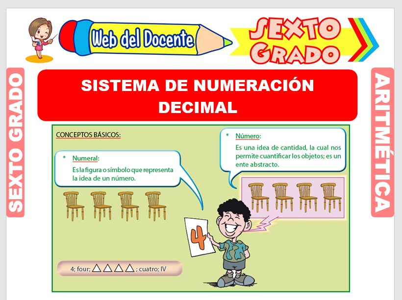 Ficha de Sistema de Numeración Decimal para Sexto Grado de Primaria