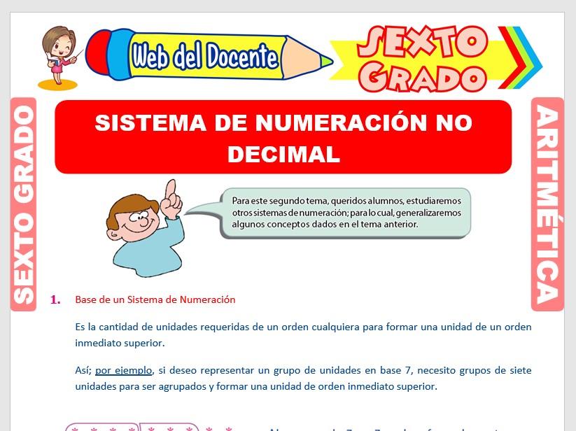Ficha de Sistema de Numeración No Decimal para Sexto Grado de Primaria