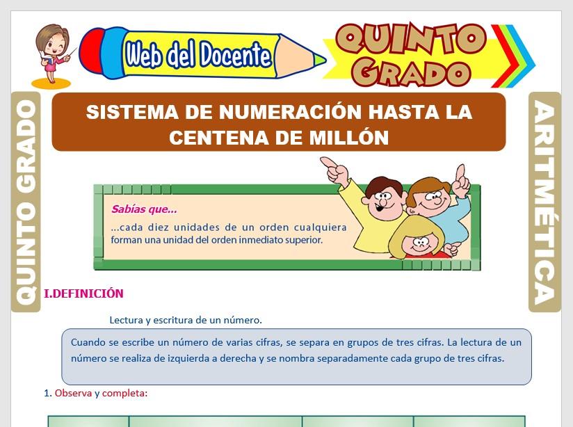 Ficha de Sistema de Numeración hasta la Centena del Millón para Quinto Grado de Primaria