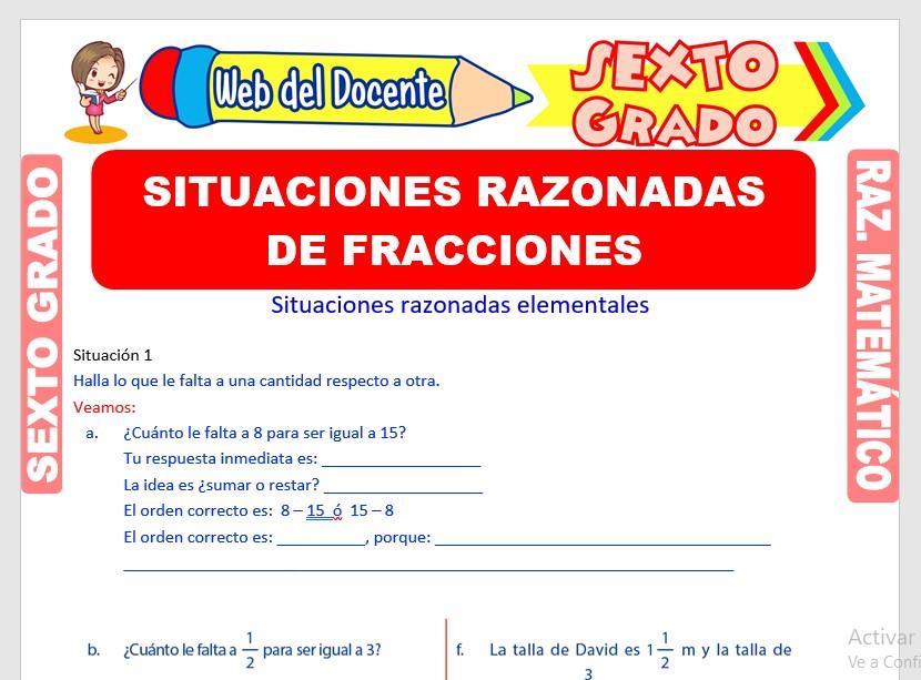 Ficha de Situaciones Razonadas de Fracciones para Sexto Grado de Primaria