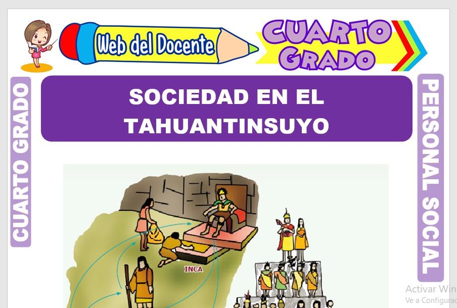 Ficha de Sociedad en el Tahuantinsuyo para Cuarto Grado de Primaria
