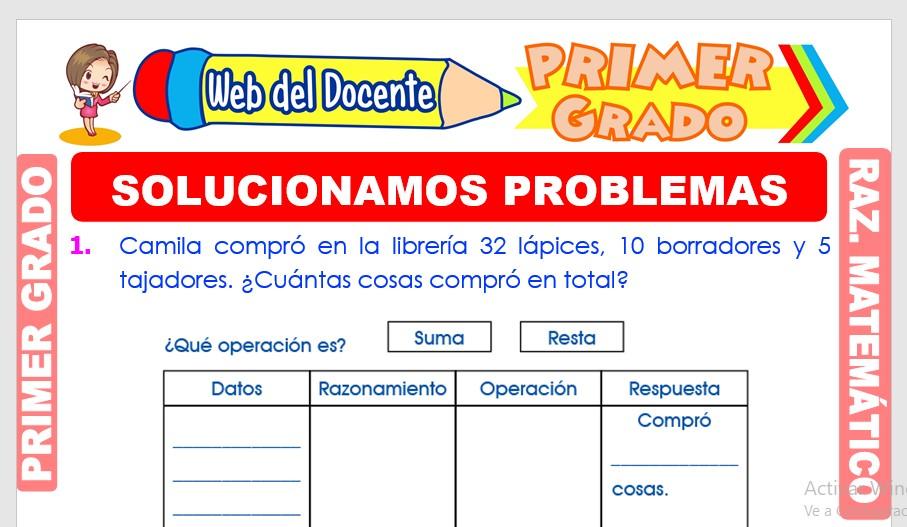Ficha de Solucionamos Problemas para Primer Grado de Primaria