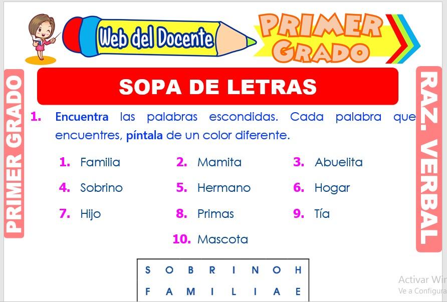 Ficha de Sopa de Letras para Primer Grado de Primaria