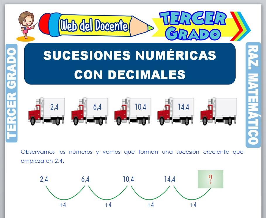 Ficha de Sucesiones Numéricas con Decimales para Tercer Grado de Primaria