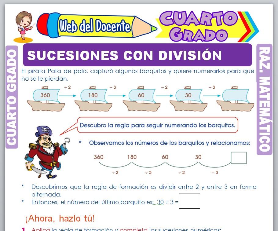 Ficha de Sucesiones con División para Cuarto Grado de Primaria