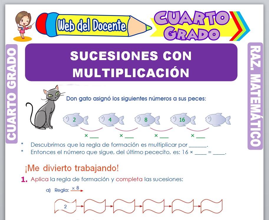 Ficha de Sucesiones con Multiplicación para Cuarto Grado de Primaria