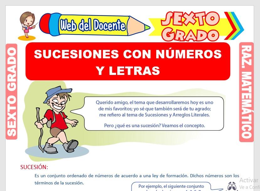 Ficha de Sucesiones con Números y Letras para Sexto Grado de Primaria
