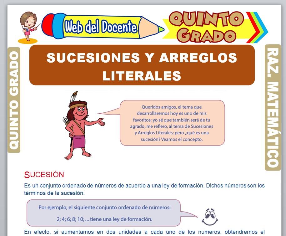 Ficha de Sucesiones y Arreglos Literales para Quinto Grado de Primaria
