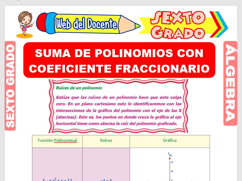 Ficha de Suma de Polinomios con Coeficiente Fraccionario para Sexto Grado de Primaria