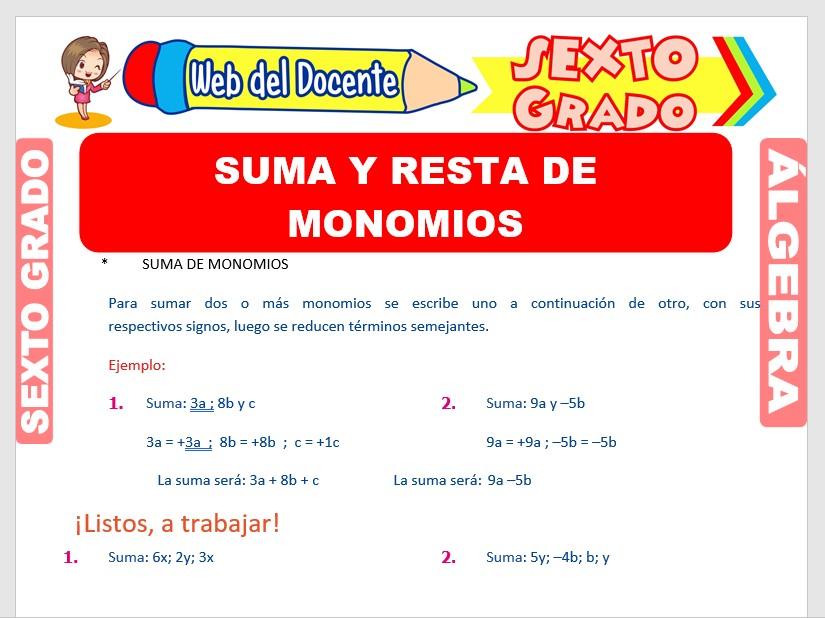 Ficha de Suma y Resta de Monomios para Sexto Grado de Primaria