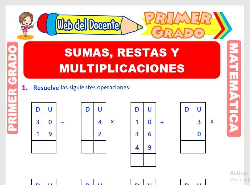 Ficha de Sumas, Restas y Multiplicaciones para Primer Grado de Primaria