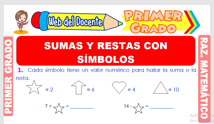 Ficha de Sumas y Restas con Símbolos para Primer Grado de Primaria