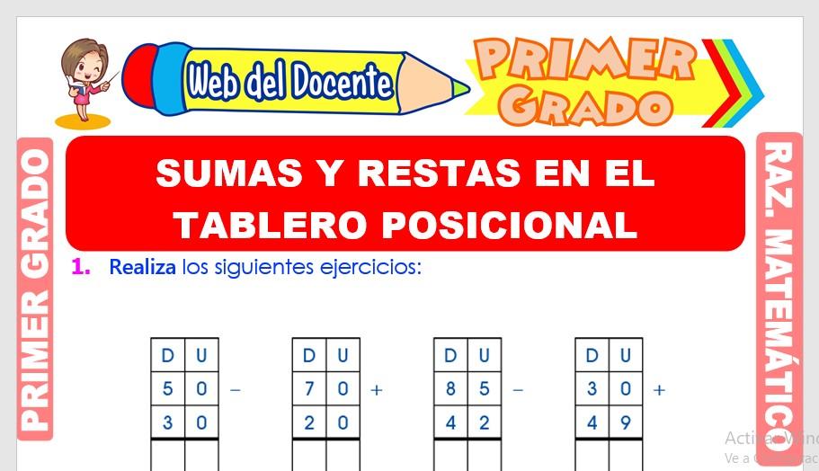 Ficha de Sumas y Restas en el Tablero Posicional para Primer Grado de Primaria