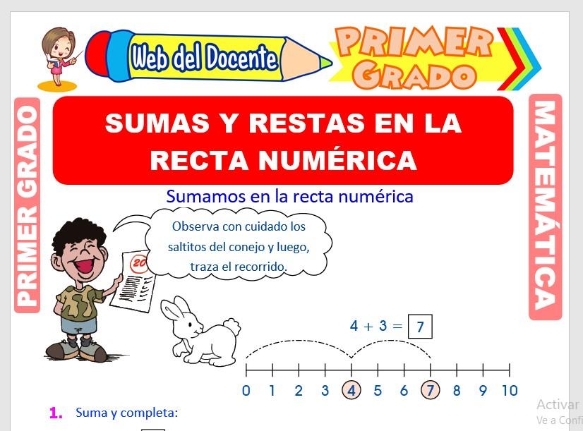 Ficha de Sumas y Restas en la Recta Numérica para Primer Grado de Primaria