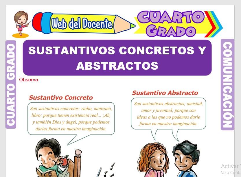 Ficha de Sustantivos Concretos y Abstractos para Cuarto Grado de Primaria