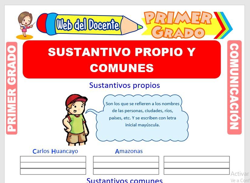 Ficha de Sustantivos Propios y Comunes para Primero de Primaria