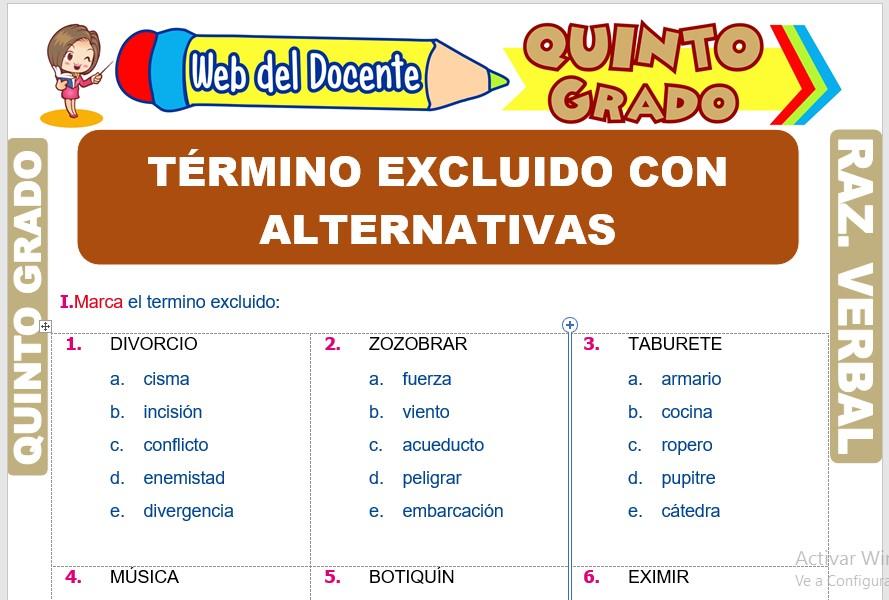 Ficha de Término Excluido con Alternativas para Quinto Grado de Primaria