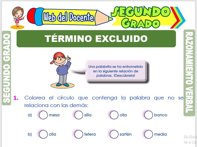 Ficha de Término Excluido para Segundo Grado de Primaria