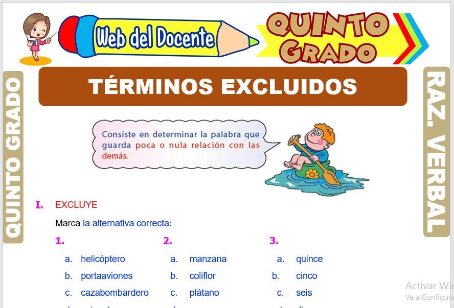 Ficha de Términos Excluidos para Quinto Grado de Primaria