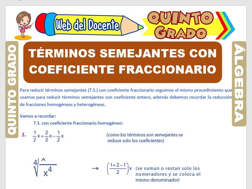 Ficha de Términos Semejantes con Coeficiente Fraccionario para Quinto Grado de Primaria