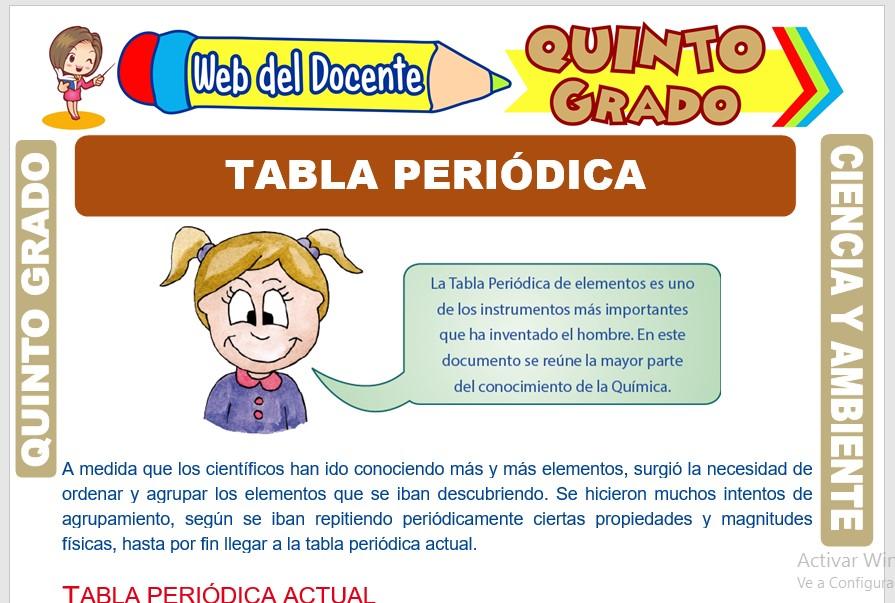 Ficha de Tabla Periódica para Quinto Grado de Primaria