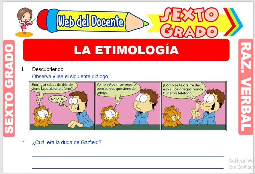 Ficha de La Etimología para Sexto Grado de Primaria