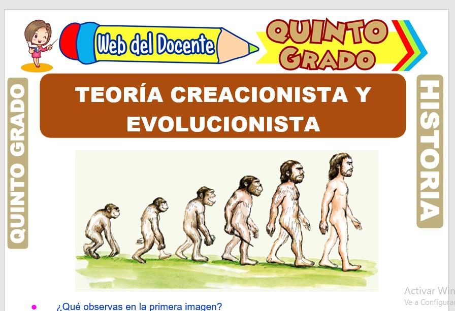Ficha de Teoría Creacionista y Evolucionista para Quinto Grado de Primaria